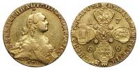 10 рублей 1766 г. СПБ ТI, грубый чекан, золото