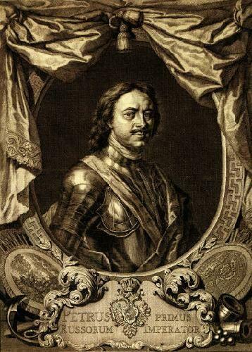 ортрет императора Петра Первого. Гравюра Якоба Хубракена по оригиналу Карла Моора. 1718